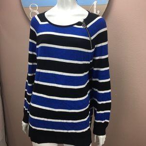 Michael Kors Sweater Striped Zipper Accent Size XL